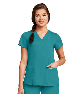 (41101) - Grey's Anatomy Scrubs - Junior 2 Pocket Mock Wrap W/ Princess Seams & Elastic Back