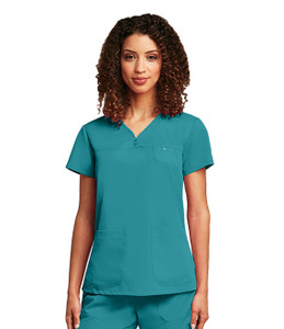 (41340) - Grey's Anatomy Scrubs - Junior 3 Pocket V-Neck Yoke W/ Side Panels And Tonal Detail Stitching