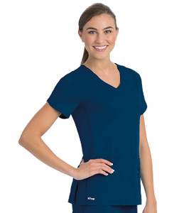 (41423) - Grey's Anatomy Active Scrubs - 4pkt Solid Side Panel V-Neck