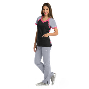 (41435) - Grey's Anatomy Active Scrubs - 3pkt Raglan Scuba V-Neck