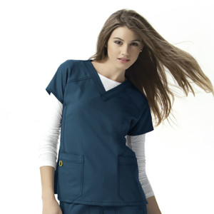 (6214) WonderWink Four-Stretch Scrubs - Womens Sporty V-Neck Top