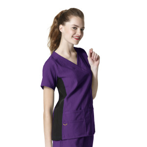 (6514) WonderWink Four-Stretch Scrubs - Mock Wrap Knit Panel Top
