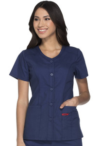 (DK605) Dickies EDS Signature Scrubs - Button Front V-Neck Top