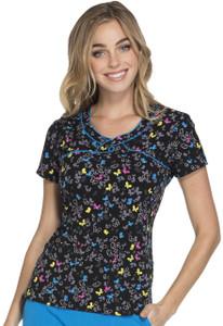 (HS602-LIOF) Heartsoul Fashion Prints Scrubs - HS602 Mock Wrap Top