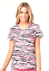 (HS602-ZOTO) Heartsoul Fashion Prints Scrubs - HS602 Mock Wrap Top