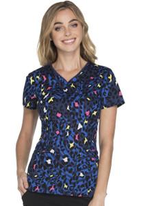 (HS605-WIKI) Heartsoul Fashion Prints Scrubs - HS605 V-Neck Top