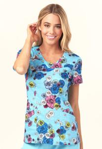 (HS610-FLTU) Heartsoul Fashion Prints Scrubs - HS610 V-Neck Top