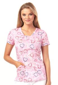 (HS610-TEDY) Heartsoul Fashion Prints Scrubs - HS610 V-Neck Top