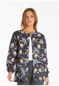 (6350C-DPEY) Cherokee Tooniforms Scrubs - 6350C Snap Front Warm-Up Jacket - Eye for You (DPEY)