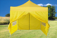 Yellow 10'x10' Pop up Tent with 4 Sidewalls - F Model Upgraded Frame