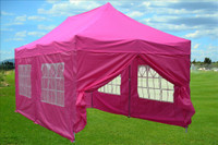 Pink 10'x20' Pop up Tent with 6 Sidewalls - F Model Upgraded Frame
