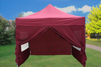 Maroon 10'x10' Pop up Tent with 4 Sidewalls - F Model Upgraded Frame