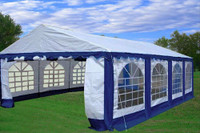 PE Party Tent 26'x16' Blue/White - Heavy Duty Wedding Canopy