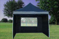 Black Checker 10'x10' Pop up Tent with 4 Sidewalls - F Model Upgraded Frame