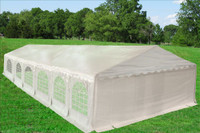 PE Party Tent 40'x20' - Heavy Duty Wedding Canopy with Waterproof Top - White