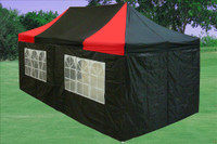 Black Red 10'x20' Pop up Tent with 6 Sidewalls - F Model Upgraded Frame