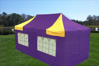 Purple Yellow 10'x20' Pop up Tent with 6 Sidewalls - F Model Upgraded Frame