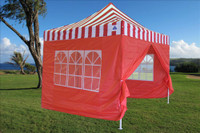 Red Stripe 10'x10' Pop up Tent  with 4 Sidewalls - F Model -  Upgraded Frame