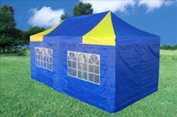 Blue Yellow 10'x20' Pop up Tent with 6 Sidewalls - F Model Upgraded Frame