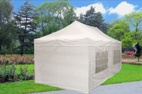 White 10'x20' Pop up Tent with 6 Sidewalls - F Model Upgraded Frame