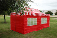 Red Stripe 10'x20' Pop up Tent with 6 Sidewalls - F Model Upgraded Frame
