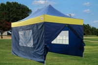 Navy Blue Yellow 10'x15' Pop up Tent with 4 Sidewalls - F Model Upgraded Frame