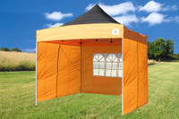 Black Orange 10'x10' Pop up Tent with 4 Sidewalls - F Model Upgraded Frame