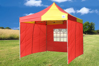 Red Yellow 10'x10' Pop up Tent with 4 Sidewalls - F Model Upgraded Frame