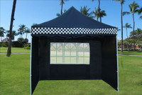 Black Checker 10'x10' Pop up Tent with 4 Sidewalls - E Model