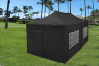 Black 10'x20' Pop up Tent with 6 Sidewalls - E Model