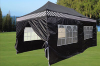 Black Checker 10'x20' Pop up Tent with 6 Sidewalls - E Model