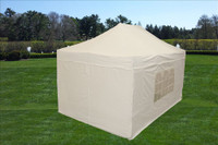 White 10'x15' Pop up Tent with 4 Sidewalls - F Model Upgraded Frame