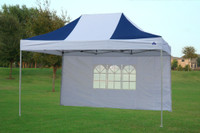 Navy Blue White 10'x15' Pop up Tent with 4 Sidewalls - E Model