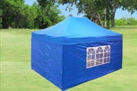 Blue 10'x15' Pop up Tent with 4 Sidewalls - E Model