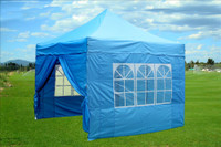 Sky Blue 10'x10' Pop up Tent with 4 Sidewalls - F Model Upgraded Frame
