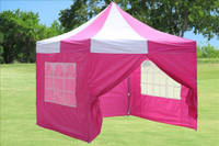 Pink White 10'x10' Pop up Tent with 4 Sidewalls - F Model Upgraded Frame