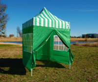 8'x8' Green Stripe Basic - Pop up Tent