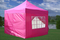 Pink 10'x10' Pop up Tent with 4 Sidewalls - F Model Upgraded Frame