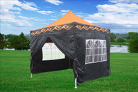 Orange Flame 10'x10' Pop up Tent with 4 Sidewalls - E Model