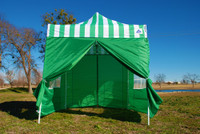 Green Stripe 10'x10' Pop up Tent with 4 Sidewalls - F Model Upgraded Frame