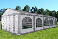 PE Party Tent 32'x16' - Heavy Duty Wedding Canopy - Grey White