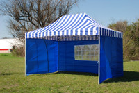 Blue Stripe 10'x15' Pop up Tent with 4 Sidewalls - F Model Upgraded Frame