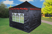 Black Flame 10'x10' Pop up Tent with 4 Sidewalls - F Model Upgraded Frame