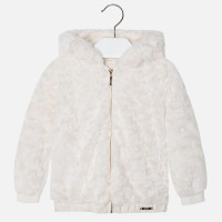 Mayoral Girls Faux Fur Hooded Coat, Pearl