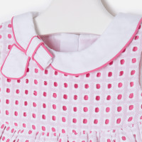 Mayoral Baby girl dress with bow on collar, Petunia