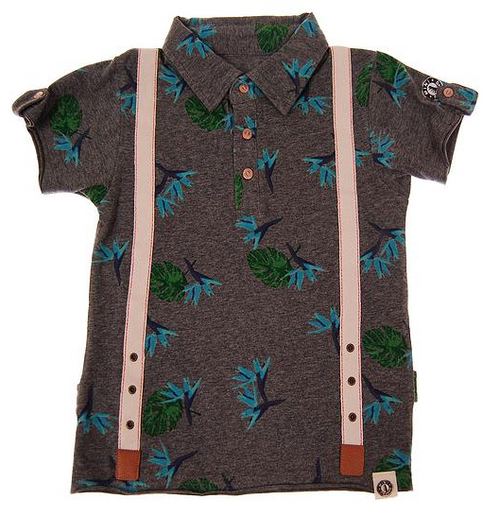 Mini Shatsu Aloha Suspenders Short Sleeve Polo front