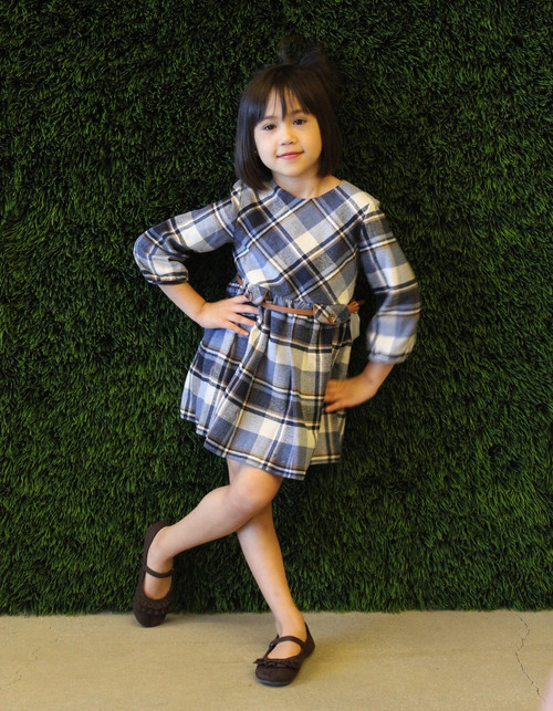 Mayoral Girls Flannel Check Dress, Navy