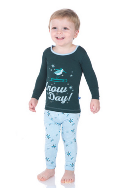 Kickee Pants Print Long Sleeve Pajama Set, Pond Snow