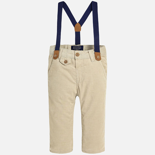Mayoral Baby Boys Corduroy Trousers with Suspenders, Sand