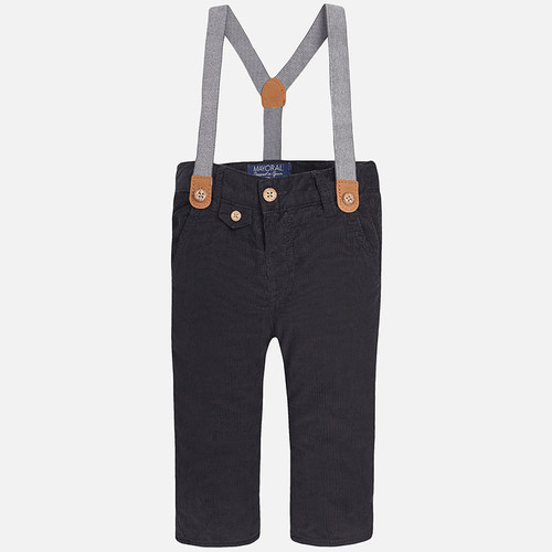 Mayoral Baby Boys Corduroy Trousers with Suspenders, Graphite